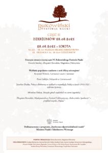 program Bukowińskiego Festiwalu Nauki 2021 w Dzierżoniowie