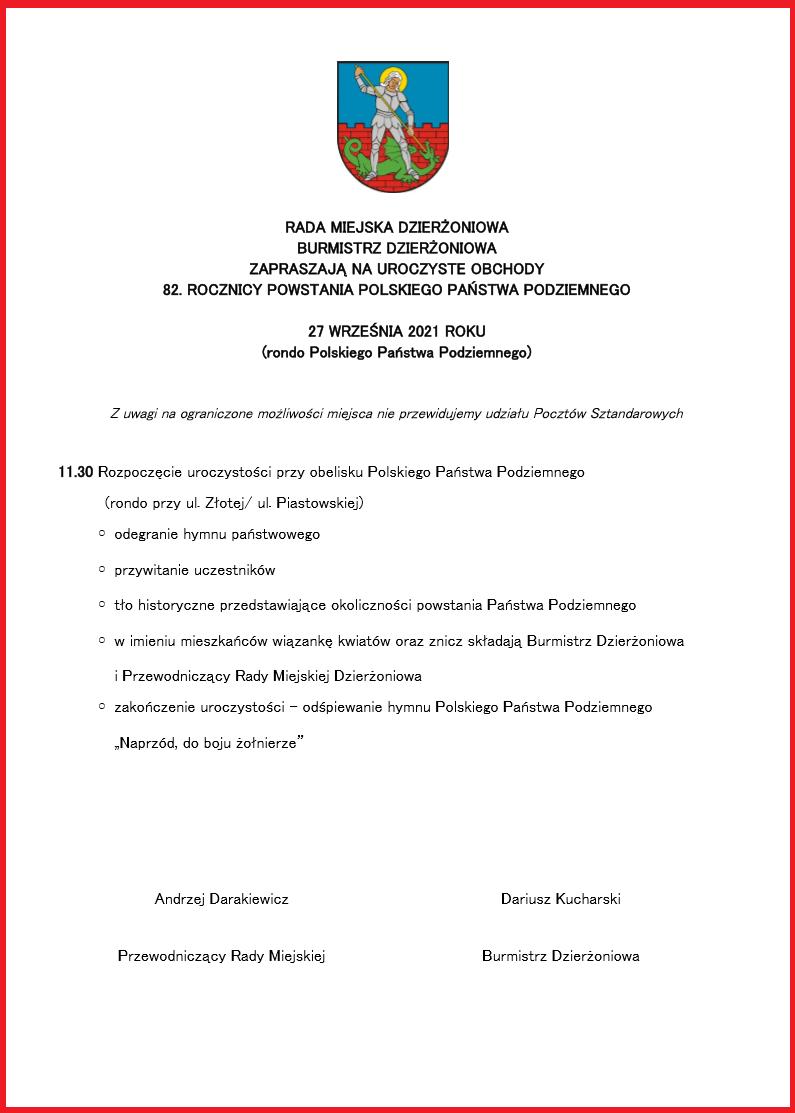 Program obchodów 82. rocznicy powstania Polskiego Państwa Podziemnego