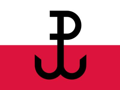 znak Polski Walczącej na biało-czerwonym tle
